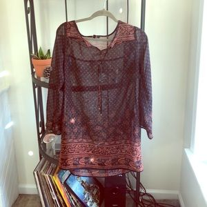 Sheer black/red mini dress with long sleeves